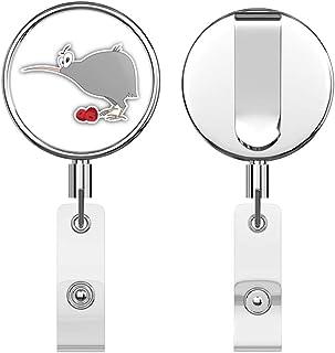 Funny Kiwi Bird Retractable Reel Chrome Metal Badge ID Card Holder Clip