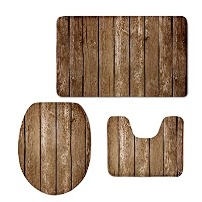 CHAQLIN Styilsh Wood Pattern 3 Pcs/Set Bathroom Carpet Toilet Floor Rug Tank Top Toilet Lid Cover for Washroom