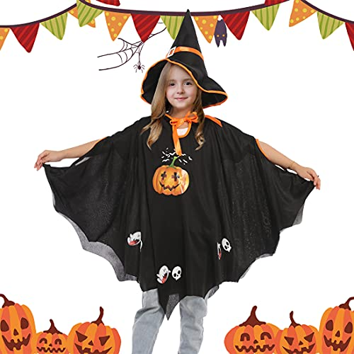 Wishstar Vestito Halloween Zucca,Costume Halloween Bambino,Halloween Pipistrello Mantello Nero,Costume Strega Bambini,Zucca Mantello con Cappello,Adatto per Altezza 90-150 cm