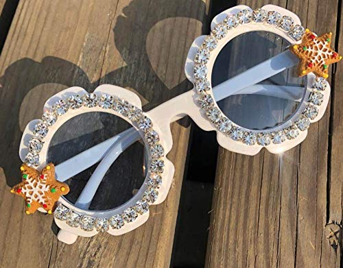 CIDCIJN Childrens Sunglasses,Gorgeous Diamond Baby Pure White Sunglasses Round Shades Party Eyewear Christmas Cartoon Design Handmade Kids Eyeglasses