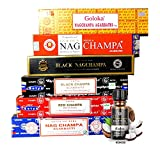 Nag Champa Mix - Juego de 6 varillas de incienso Nag Champa a de 15 g + un aceite aromático premium