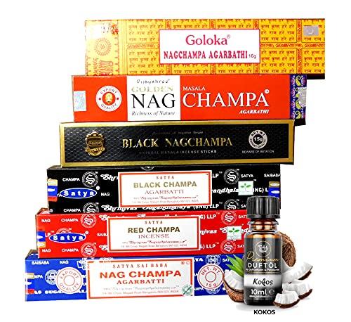 Nag Champa Mix | Räucherstäbchen - Set | 6X Nag Champa a 15g + EIN original Teufelsküche Premium Duftöl