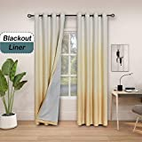 Ombre 85% Blackout Room Darkening Window Curtains for Bedroom Noise Reducing Heavy Linen Texture 8 Grommets Gradient Print Cream White to Yellow/ Light Gold Curtain for Living Room 50' x 84', 1 Piece