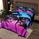 Erosebridal Botanical CoverletSet Boho Bedspread for Teens Adult Young Man,Tree Branches Weed Quilted Nature Plant Leaves QuiltSet Rural Pastoral Style Lavender Bedroom Decor King Size