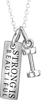 """YFN Sterling Silver""""Strong Is Beautiful""""""""She Believe She Could So She Did"""" Engraved Dumbbell Barbell Gym Buff Pendant Necklace 18"""""""