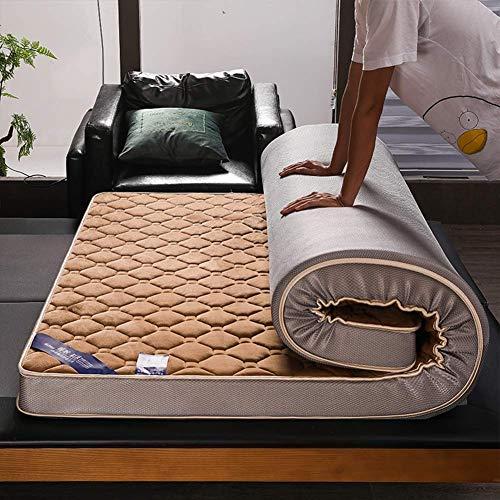 zyl Colchón de látex Suave colchón híbrido de Espuma viscoelástica para Dormir Plegable Grueso Tatami Transpirable para Doble Individual (Color: Marrón Tamaño: 100x200cm (37x79inch))