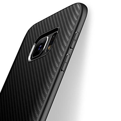 J Jecent Galaxy s7 Hülle Handyhülle für Samsung, [Kohlefaser Textur-Design] Soft TPU Silikon Bumper Case Staubschutz Stoßfest Anti-Fingerabdruck Anti-Scratch Cover Schutzhülle - Schwarz