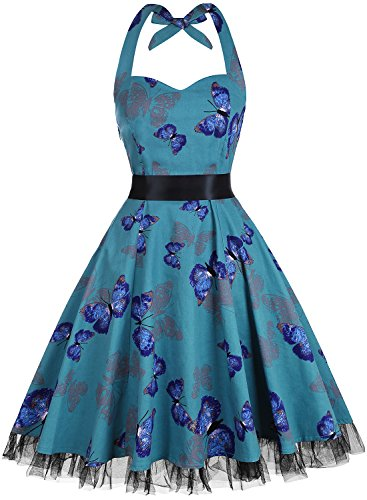 oten Damen 1950er Vintage Kleider Schulterfrei Blumen Country Rockabilly Neckholder Cocktail Swing Tee Kleid, Schmetterling 2, XXL