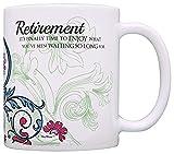 N\A Ideas para Regalos de jubilación La jubilación Finalmente es Hora de Disfrutar de la jubilación Regalos para Mujeres Regalo Taza de café Taza de té Paisley