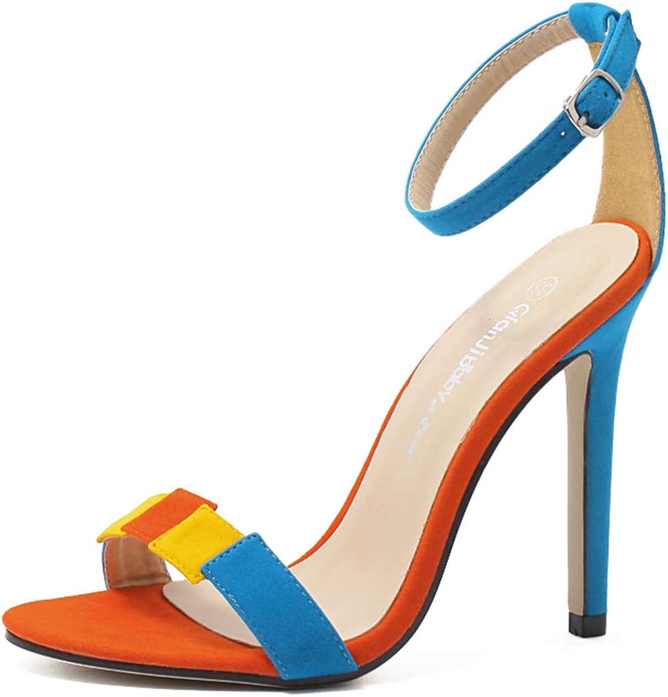 High Heels for Women Open Toe Cutout Design Comfortable High Heels Stiletto Dress Sandals Girls Basic shoes,bluee,35