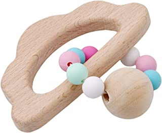 eroute66 Baby Teether Nursing Bracelet Food Grade Silicone Teether Wooden Teether Ring Teether Nature Safe Organic Infant Baby Bangle Teether Toys 3#