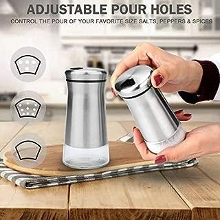 Salt and Pepper Shakers Set with Adjustable Pour Holes - Elegant Stainless Steel Salt and Pepper Dispenser