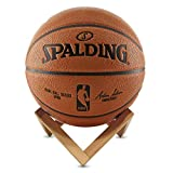 VanSeven 2 PCS Wood Basketball Stand Display Holder, Cool 3D Shape Soccer Ball, Volleyball Display Storage