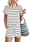 ANRABESS Women's Summer Short Sleeve Striped Jumpsuit Rompers with Pockets Short Pant Rompers Pajamas Loungewear A233-baihei-M