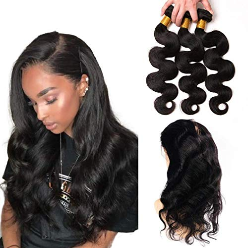 body wave 360 lace closure frontal human hair peruvian human hair 3 bundles full lace hair weft not wig 360 frontal with bundles dark brown 20 22 24 + 16 inch 360