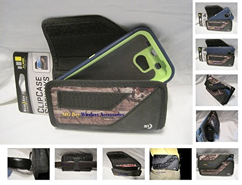 Nite Ize Black Extended Sideways Camouflage Mossy Oak Ballistic Horizontal Rugged Heavy Duty X-large Cover Case W/Durable Fixed Belt Clip Fits At&t / T-mobile /Sprint / Verizon HTC One M8 Black Otterbox Commuter / Defender