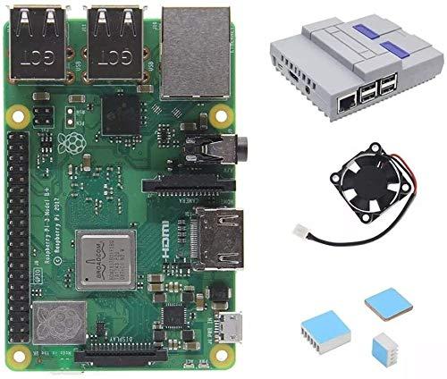 KASILU Dlb0216 4 in 1 Raspberry Pi 3 Modell B + (Plus) Board + Mini NES Style Hülle + Kühlkörper Starter Kits + Kühlung Fan Spot steuermodul Computer Hochleistung