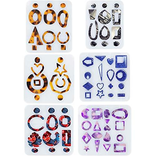 Fransande 6 estilos pendientes de resina UV epoxi moldes de joyería herramientas de bricolaje artesanía joyería accesorios