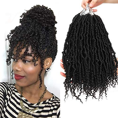 WIGENIUS Spring Twist Hair 6er Pack Bomb Twist Crochet Hair 14 Zoll Spring Twist Crochet Braids Hair Synthetic Crochet Hair(1b)