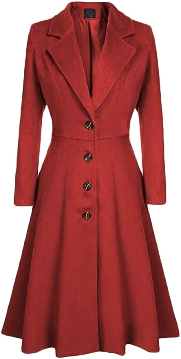 CromoncentCA Women's Fashion Single Breasted Notched Lapel Swing Overcoat Trench Coat