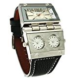 Oulm 9525 Mens Watch Analog Black Leather Strap 3 Sub-dials