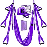 Yoga4You Aerial Yoga Swing Set - Yoga Hammock Swing - Trapeze Yoga Kit - 2 Extension Straps - Wide Flying Yoga Inversion Tool - Antigravity Ceiling Hanging Yoga Sling - Adult Kids Arial Toga (Purple)