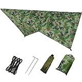 Azarxis Tarp Ultra Léger Bâche de Camping Anti-Pluie Tapis de Sol Parasol Couverture Abri de Plage Auvent Imperméable pour Tente Hamac Randonnée Pique-Nique (Camouflage)