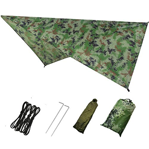 Azarxis Hammock Camping Tarp Rain Fly, Waterproof Tent Footprint Shelter Canopy Sunshade Cloth Picnic Mat for Outdoor Awning Hiking Beach Backpacking - Included Guy Lines & Stakes (Camouflage)