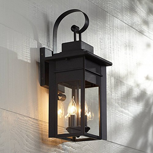 Bransford Traditional Outdoor Wall Light Fixture Black Specked Gray Carriage 21' Clear Glass for Exterior Patio Porch - Franklin Iron Works