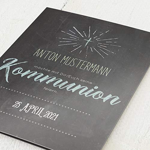 Einladungskarten zur Kommunion, Schiefer Aquamarin, Einladung 5er Klappkarten-Set C6, personalisiert mit Wunschtext & persönlichen Bildern, wahlweise mit passenden Umschlägen im gleichen Design