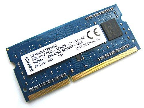 Kingston HP16D3LS1KBG/4G 4GB 1Rx8 1,35 V 204 Pines SODIMM PC3L-12800S-11-11-B3 1600MHz DDR3 Memoria para Ordenador portátil o portátil