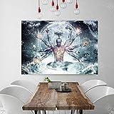 Meditación Espiritual Fantasía Impresión de póster Lienzo Pintura Arte de la pared Decoración Imagen para sala de estar Sin marco