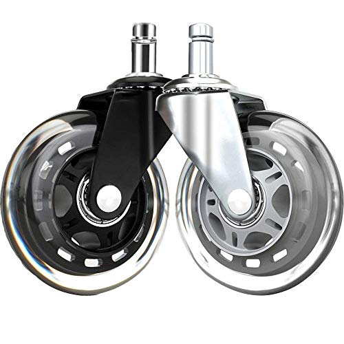 FOH Office Chair Caster Wheels 3' Office Chair Wheels Replacements for Carpet and Hardwood Floors