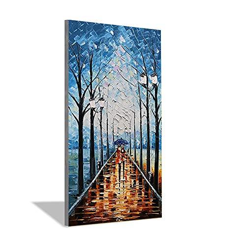 LYDIAMOON Pintada a Mano Rectangular Vertical Azul Madera Paisaje Pintura Cuchillo Mano Pintura al Óleo Sala de Estar Comedor Pared Interior Pintura,40X80inch