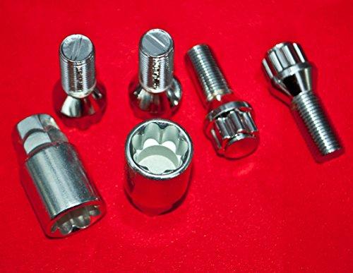 Walthart-1928 GERMANY Felgenschloss M14 x 1,5 Radsicherung Diebstahlsicherung Radschraube Kegel 27mm Kegelbund 60°+ 2 Adapter für Stecknussgrösse SW17 & SW19