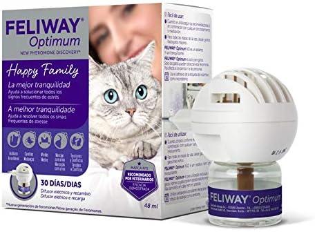 FELIWAY Optimum – Nueva Generación de Feromonas – Soluciona todos los signos de estrés del gato – Arañazos, miedos, cambios, marcaje con orina, conflictos entre gatos – Difusor + Recambio 48ml