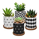 Lewondr Macetas de Cerámica para Flores y Plantas, [4 PZS] 7 cm Conjunto de Contenido Plantador con Orificio Drenaje Bandeja Bambú para Suculenta Cactus Oficina Casa Ventana - Geométrico 1