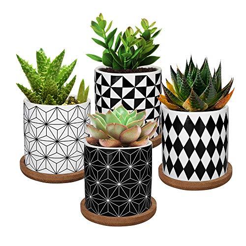 Lewondr Keramik Sukkulenten Töpfe, 4 Stücke 7 cm Kaktus Pflanze Töpfe Mini Blumentöpfe Set mit Bambus Untersetzer, Dekorationen - Geometrische Muster Serie 01, Schwarz + Weiß