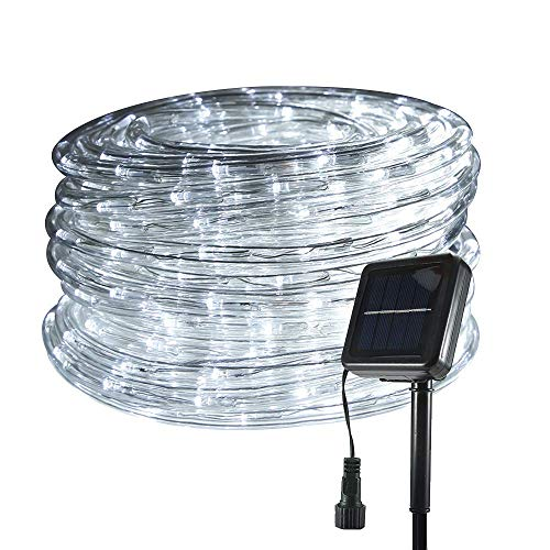 33ft 240LED Solar Rope Lights Outdoor, Solar String Lights Waterproof Clear Tube Rope Lights and String for Deck, Garden, Patio, Home, Fence, Yard, Summer Party Decoration (White)