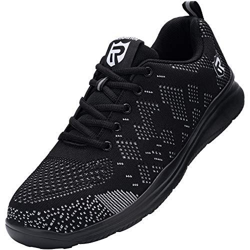 LARNMERN Steel Toe Shoes Men Shoes Lightweight Puncture Proof Breathable Sneakers Construction Indestrutible Safety Work Slip Resistant Shoe 112K(9.5 Men, Black&White)
