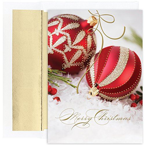 Masterpiece Studios Holiday Collection 18-Count Boxed Christmas Cards with Foil-Lined Envelopes, 7.8' x 5.6', Embossed Red & Gold Ornaments