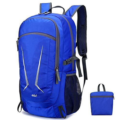 Nueva mochila plegable, hombres al aire libre ligero portátil mochila para mujeres mochilas de viaje plegables bolsa de almacenamiento impermeable, Royal Blue (Azul) - berglink-7HDTFW