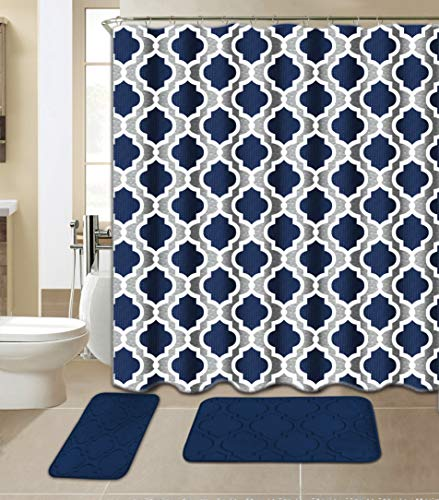 All American Collection 15-Piece Bathroom Set with 2 Memory Foam Bath Mats and Matching Shower Curtain | Designer Patterns and Colors (Geometric Navy)