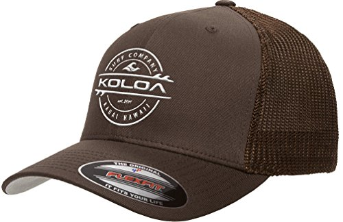 Koloa Surf-Premium Embroidered 34e Flexfit 6511 Truckers Caps Brown-Brown/wlack
