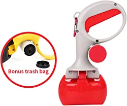 Luck Dawn Pet Pooper Scooper, Portable Dog Waste Jaw Clamp Scooper with 35 Poop Bags, Great for Outdoor Walking