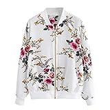 Overdose Las Nuevas SeñOras De Las Mujeres Retro Floral O-Cuello Zipper Up Bomber Mejor Venden Chaqueta Casual Outwear (XL, M-Blanco)