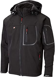 Lee Cooper LCJKT407W Mens Waterproof Windproof Breathable Work Safety Fully Lined Soft Shell Jacket, Black, X-Large