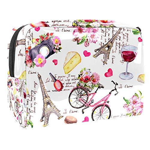 Bolsa de Maquillaje Bolsas de Aseo Organizador de cosméticos Bolsa con Cremallera para Mujer París Torre Eiffel Flores Bicicleta