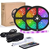 Flykul LED Strip Lights, 32.8 Feet/10m SMD 5050 RGB 300 LEDs IP65 Waterproof Light Strip Tape Light with 44-Key IR Remote Controller Double Sided Adhesive for Home Kitchen Room