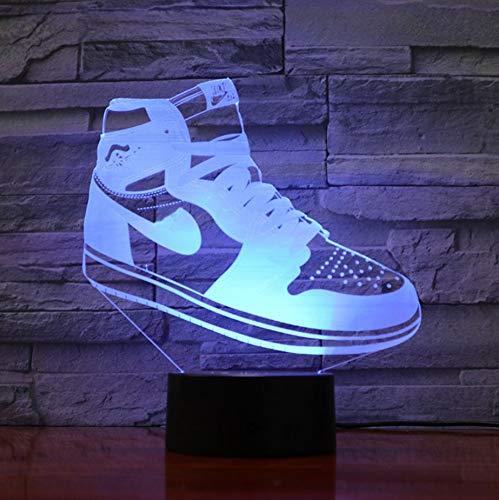 3D Nachtlicht,3D Illusion Lampe,7 Farben Ändern Touch Switch Nachtlicht,Das Beste Geschenk Für Kinder,Optisches 3D-Nachtlicht,Tischlampe, Sneakers Jordan